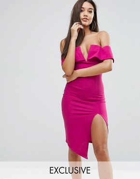 photo Bardot Plunge Front Midi Dress with Split by Ginger Fizz, color Fuchsia - Image 1