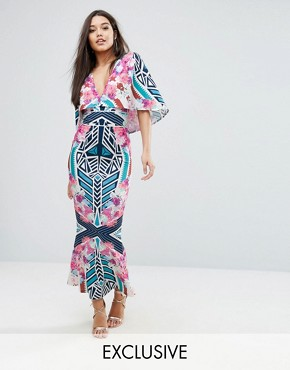 photo Cape detail Maxi Dress in Abstract Floral by Ginger Fizz, color Mono Floral - Image 1