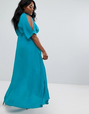 photo Wrap Maxi Dress by Truly You, color Green - Image 2