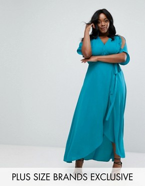 photo Wrap Maxi Dress by Truly You, color Green - Image 1