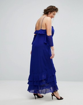 photo Delicate Ruffle Maxi Dress by Truly You, color Blue - Image 2