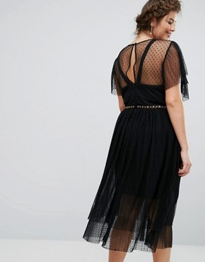 photo Tulle Ruffle Dress with Eyelet Detail by Truly You, color Black - Image 2