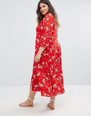 photo Floral Maxi Tea Dress by Alice & You, color Red - Image 2