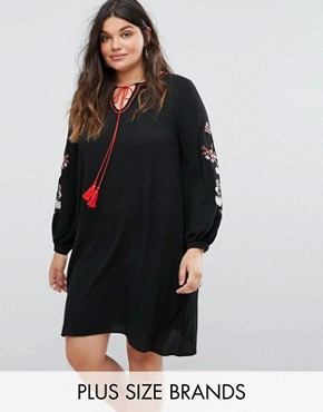 photo Smock Dress with Embroidered Sleeves by Alice & You, color Black - Image 1