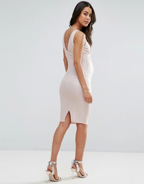 photo Metallic Rib Twist Front Dress by ASOS Maternity, color Nude - Image 2