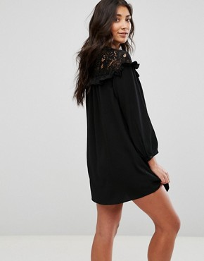 photo Lace Smock Dress by Brave Soul, color Black - Image 2