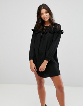 photo Lace Smock Dress by Brave Soul, color Black - Image 1