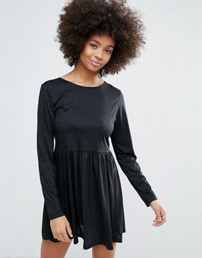 photo Jersey Skater Dress by Brave Soul, color Black - Image 1