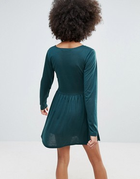 photo Jersey Skater Dress by Brave Soul, color Bottle Green - Image 2