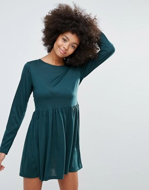 photo Jersey Skater Dress by Brave Soul, color Bottle Green - Image 1