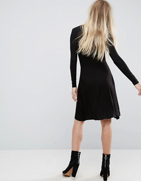 photo Wrap Jersey Dress by Brave Soul, color Black - Image 2