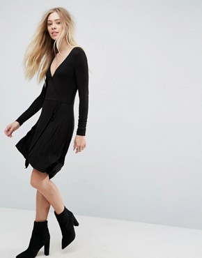 photo Wrap Jersey Dress by Brave Soul, color Black - Image 1