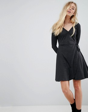 photo Wrap Jersey Dress by Brave Soul, color Charcoal - Image 1