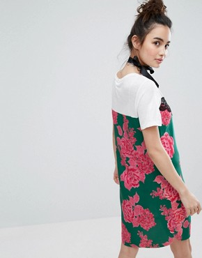 photo T-Shirt Dress with Floral Cami Panel Detail by H! by Henry Holland, color Multi - Image 2