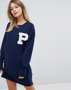 photo Varsity Sweat Dress by Polo Ralph Lauren, color Navy - Image 1