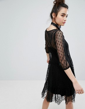 photo Mesh Dress with Floral Embroidery by H! by Henry Holland, color Black - Image 2