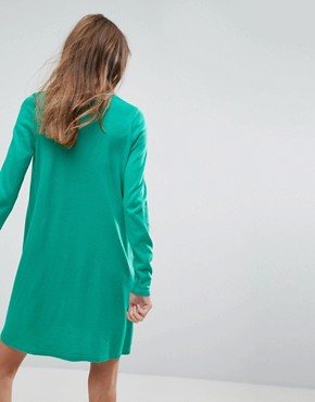 photo Knitted Swing Dress with V-Neck by ASOS, color Green - Image 2