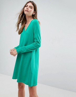 photo Knitted Swing Dress with V-Neck by ASOS, color Green - Image 1