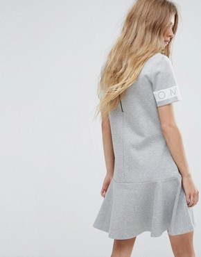 photo Sweat Dress with Logo Sleeve by Tommy Hilfiger Denim, color Mid Grey Heather - Image 2