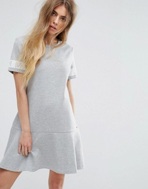 photo Sweat Dress with Logo Sleeve by Tommy Hilfiger Denim, color Mid Grey Heather - Image 1