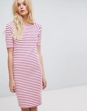 photo Stripe Boatneck Dress by Tommy Hilfiger Denim, color Bright White/Red - Image 1