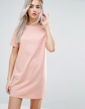 photo Open Back T-shirt Dress with V-Back by ASOS PETITE, color Nude - Image 2