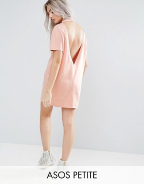 photo Open Back T-shirt Dress with V-Back by ASOS PETITE, color Nude - Image 1