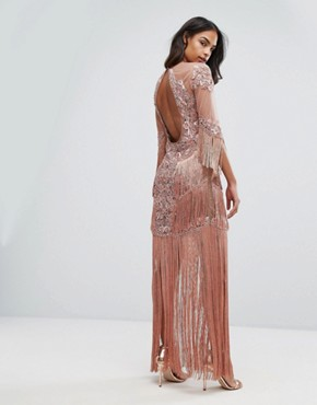 photo Embellished Mesh Maxi Dress with Fringing by A Star Is Born, color Vintage Rose - Image 2