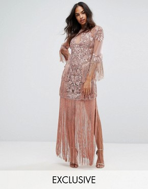 photo Embellished Mesh Maxi Dress with Fringing by A Star Is Born, color Vintage Rose - Image 1