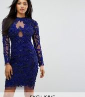 photo Pencil Dress in All Over Embellishment by A Star Is Born, color French Navy - Image 1