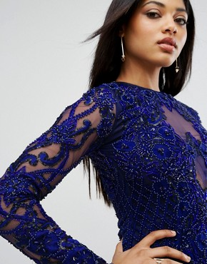 photo Pencil Dress in All Over Embellishment by A Star Is Born, color French Navy - Image 3