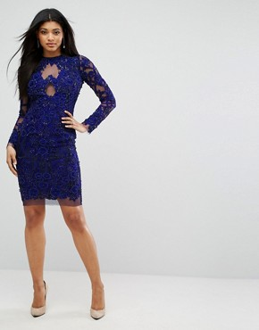 photo Pencil Dress in All Over Embellishment by A Star Is Born, color French Navy - Image 4