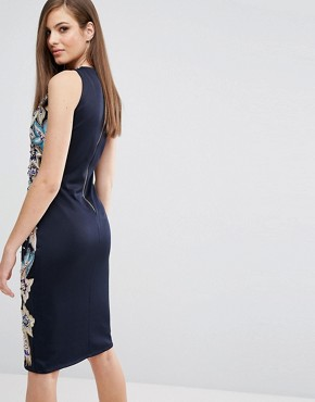 photo Pencil Dress with Quilted Embroidery & Embellishment by A Star Is Born, color Navy Multi - Image 2