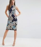 photo Pencil Dress with Quilted Embroidery & Embellishment by A Star Is Born, color Navy Multi - Image 4