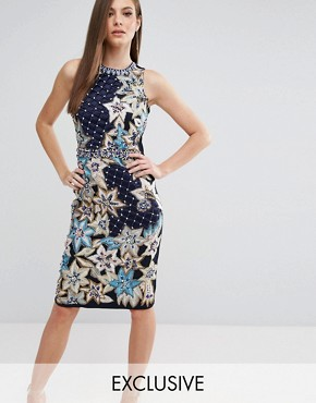 photo Pencil Dress with Quilted Embroidery & Embellishment by A Star Is Born, color Navy Multi - Image 1