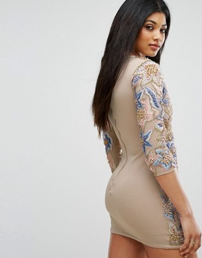 photo Mini Dress with Quilted Embroidery & Embellishment by A Star Is Born, color Nude/Multi - Image 2