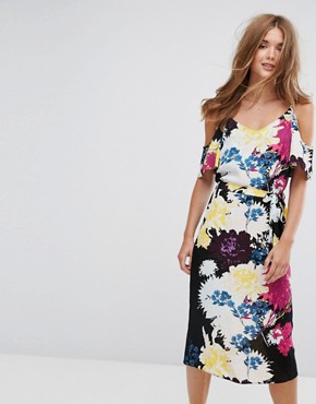 photo Floral Cold Shoulder Midi Slip Dress by New Look, color Black - Image 1