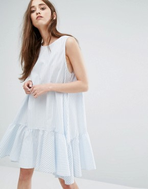 photo Stripe Dress with Peplum Hem by Weekday, color Blue White Stripe - Image 1