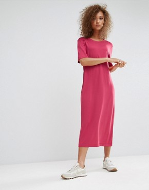 photo Maxi T-Shirt Dress by Weekday, color Pink - Image 1