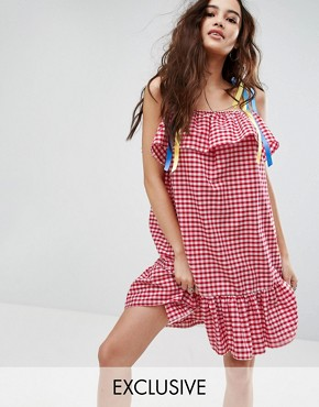 photo Gingham Dress with Ribbon Tie Straps by Reclaimed Vintage Inspired, color Red - Image 1