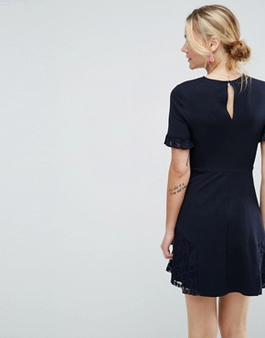 photo Lace Insert Mini Skater Dress by ASOS, color Navy - Image 2