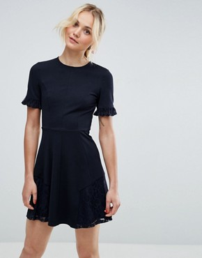 photo Lace Insert Mini Skater Dress by ASOS, color Navy - Image 1