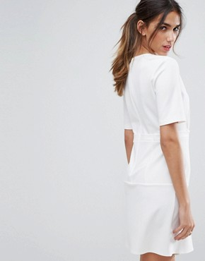 photo Paper Bag Waist Tuck Shift Dress by ASOS, color Ivory - Image 2