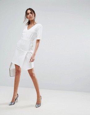 photo Paper Bag Waist Tuck Shift Dress by ASOS, color Ivory - Image 4