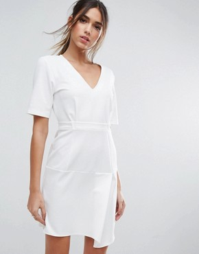 photo Paper Bag Waist Tuck Shift Dress by ASOS, color Ivory - Image 1
