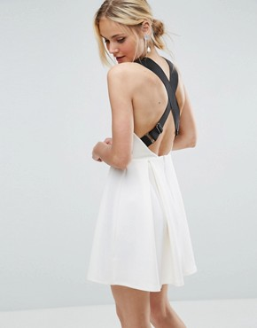 photo Pinafore Dress with Wide Elastic Straps by ASOS PREMIUM, color Cream - Image 2