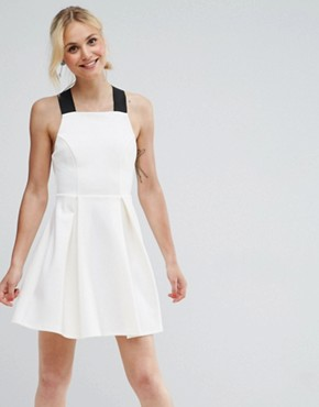 photo Pinafore Dress with Wide Elastic Straps by ASOS PREMIUM, color Cream - Image 1