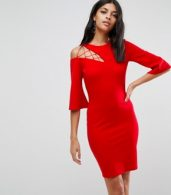 photo Fluted Sleeve Shift Dress with Ladder Detail by ASOS, color Red - Image 1