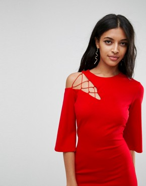 photo Fluted Sleeve Shift Dress with Ladder Detail by ASOS, color Red - Image 3