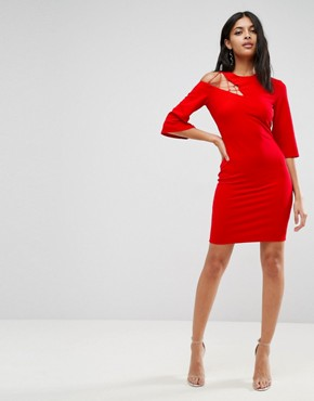 photo Fluted Sleeve Shift Dress with Ladder Detail by ASOS, color Red - Image 4